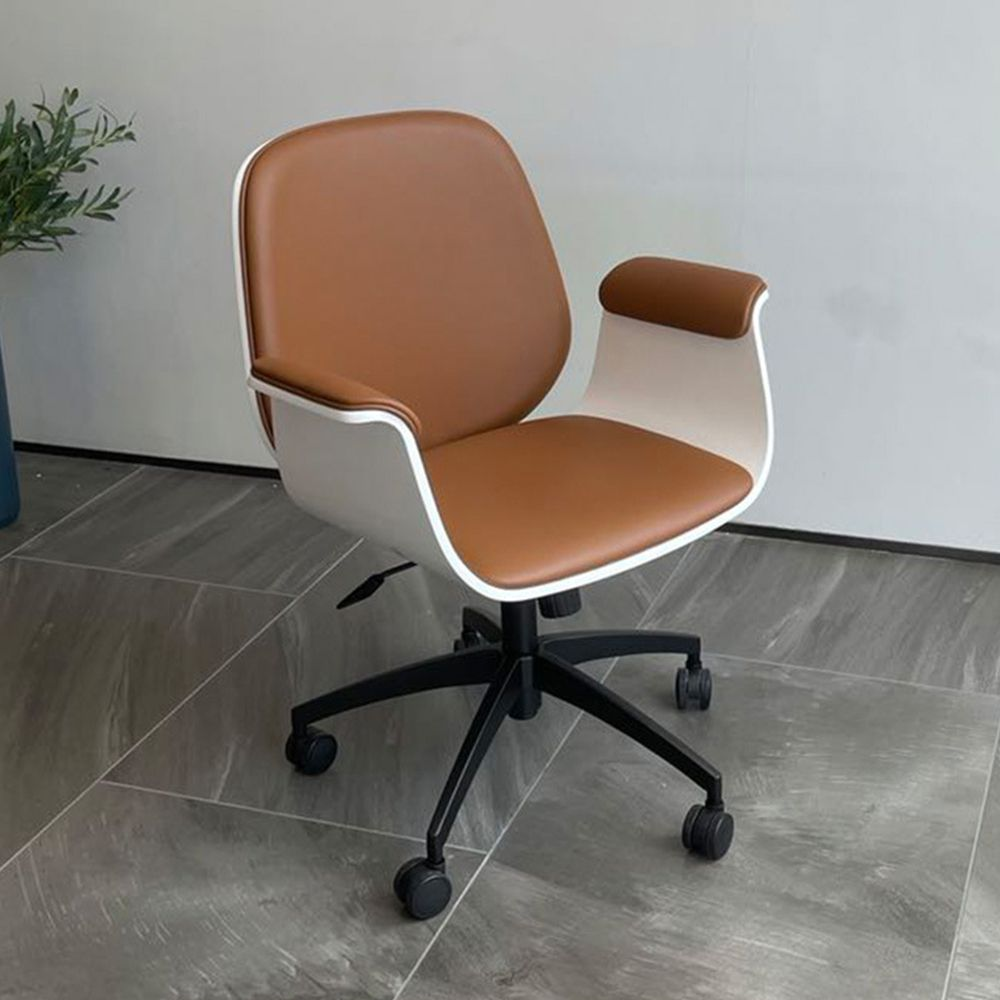 Modern Swivel Office Chair, Cipri Leather Upholstered, Casters, Adjustable Height, Aluminium Alloy Base Base