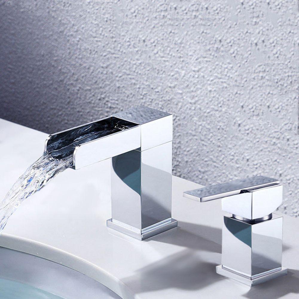 Deck mount waterfall basin mixer, Brass and Zinc Alloy, Chrome