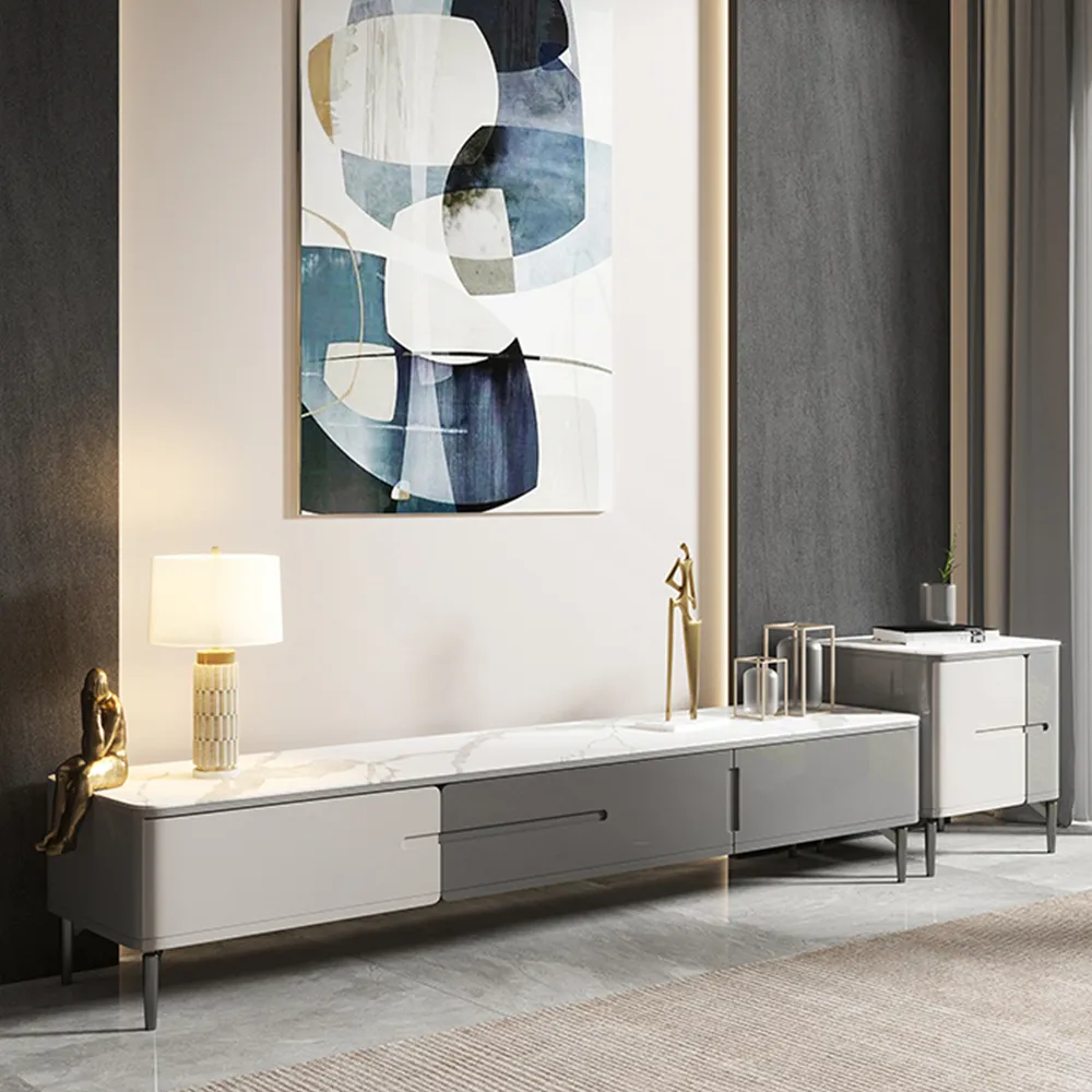 """78"""" Modern Color Combo Stone TV Stand with 3 Drawers, Carbon Steel Legs, White and Gray, Fully-assembled"""