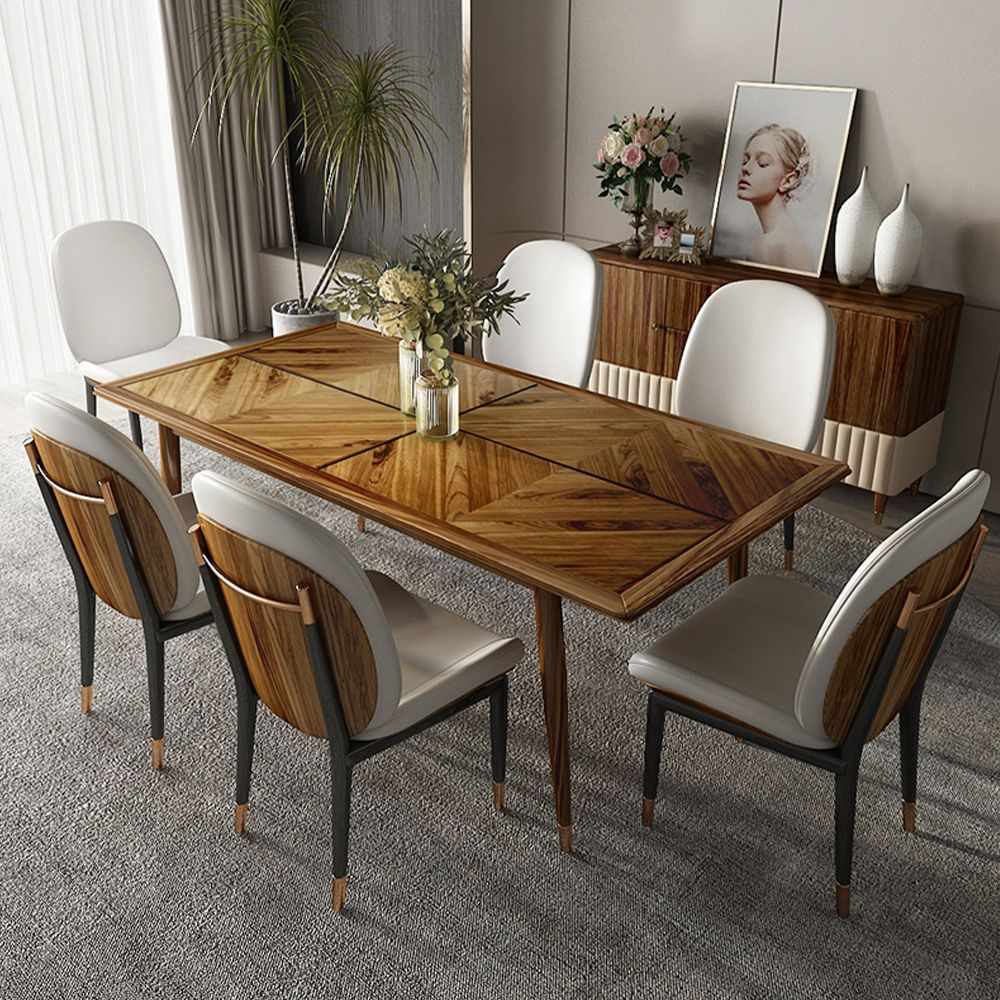 """78""""Dining table Modern and Luxe Rectangular, Solid Ebony Wood , Patchwork, Wood Legs with Gold Stainless Steel Foot Caps"""