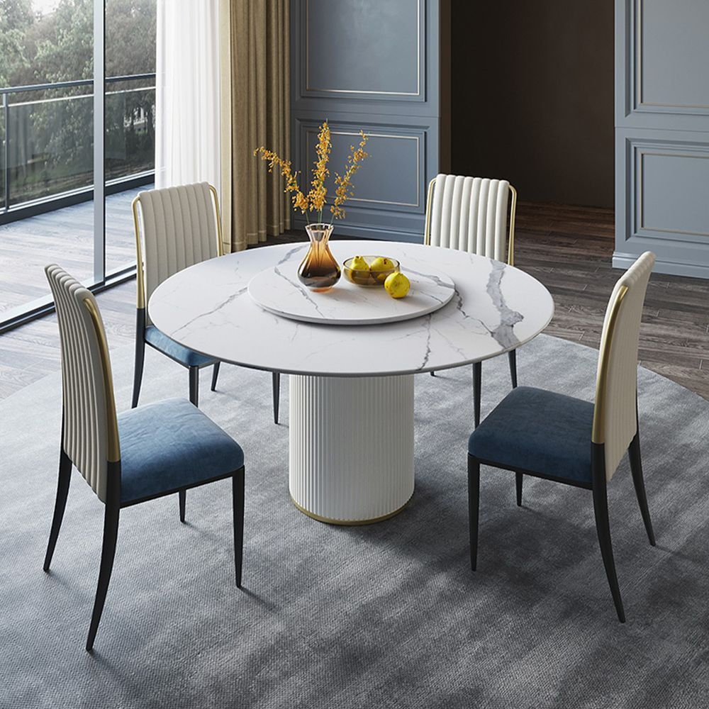 Modern Round White Stone Dining Table with Lazy Susan, Ribbed Design,  Stainless Steel Pedestal