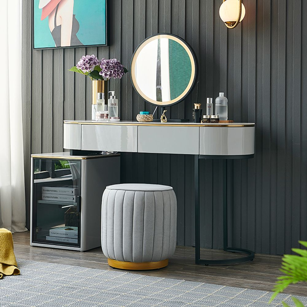Modern Retractable Gray Stone Makeup Vanity Dressing Table with 2 Pinewood Drawers, Side Cabinet, LED Mirror, Stool, Glossy Finish, Black Metal Leg