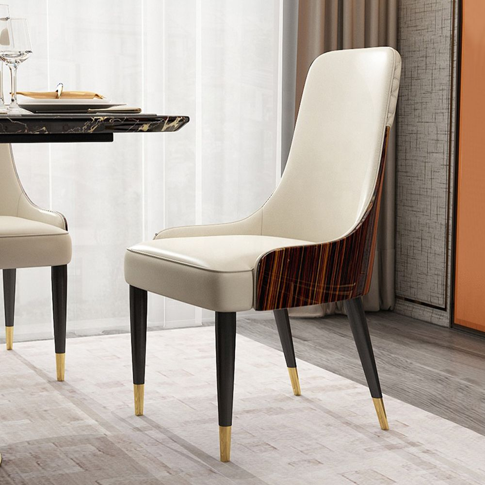 Modern Leather Upholstered High Back Dining Chair, Solid Bentwood, Ebony Stain,Beige, Set of 2, Fully-Assembled