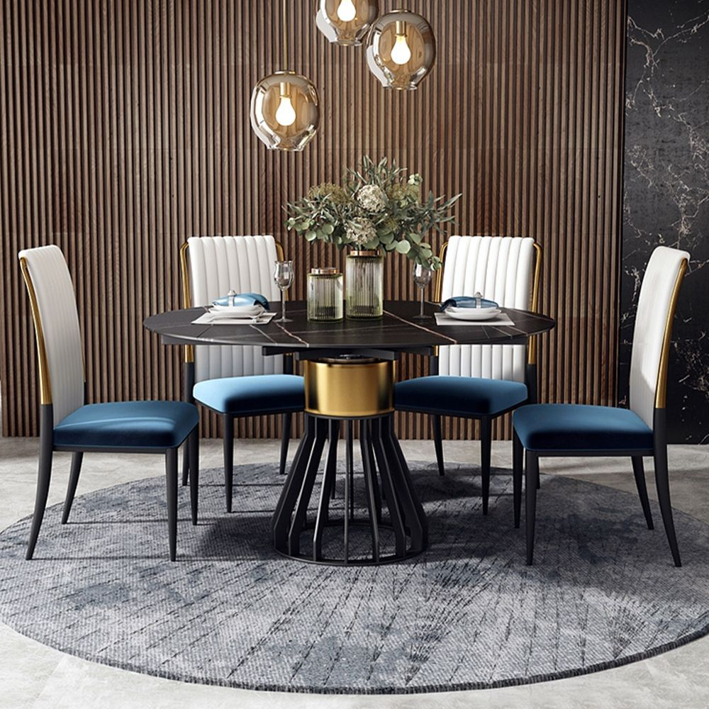 Modern Luxury PU Leather Upholstered Dining Chair Side Chair, Stainless Steel Base, Blue and White, Set of 2, Fully-Assembled
