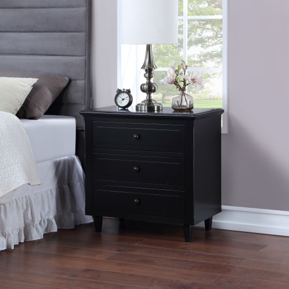Black Nightstand with 3 Drawers