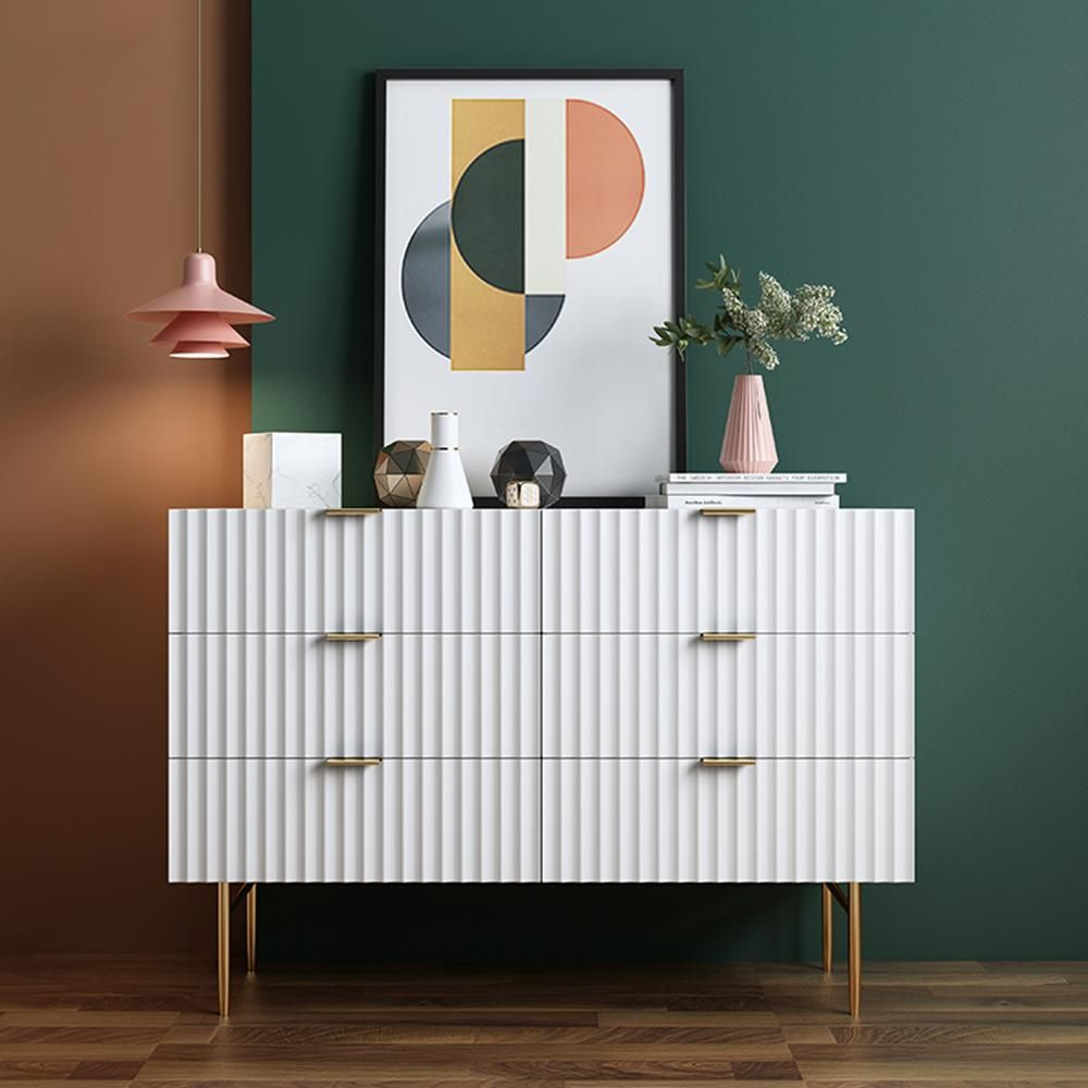 Lester White Cabinet with 6 Drawers
