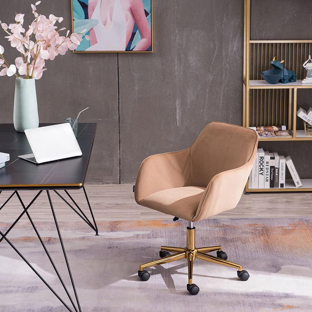 Povison Brown Fabric Office Chair