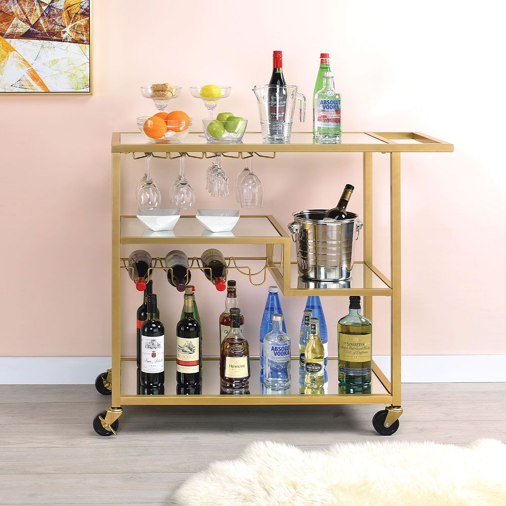 Tempered Glass Kitchen Trolley