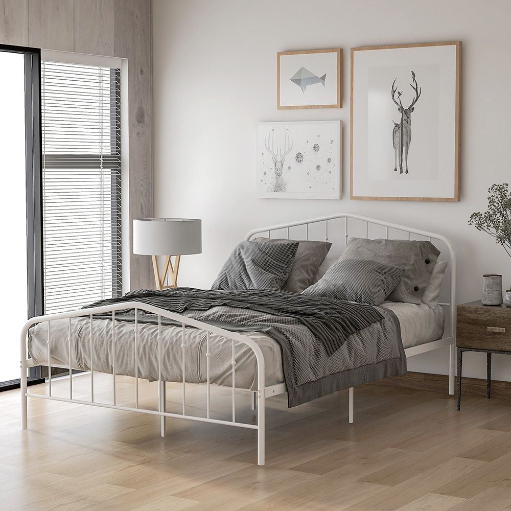 White-coated Metal Bed