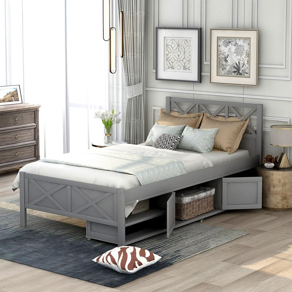 Wood Twin Bed with Storage