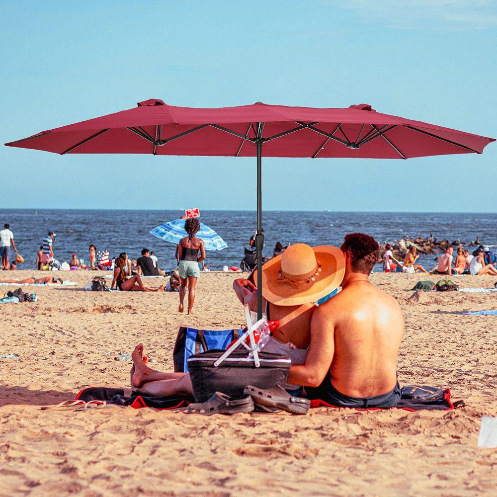 Gemini Rectangular Outdoor Table Umbrella with 12 Ribs - Brown