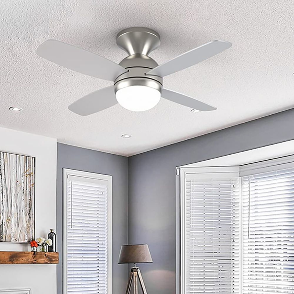 Illuminated ceiling fan, remote control ceiling fan, suitable for bedroom and living room, 44 inches rustic style flush ceiling fan