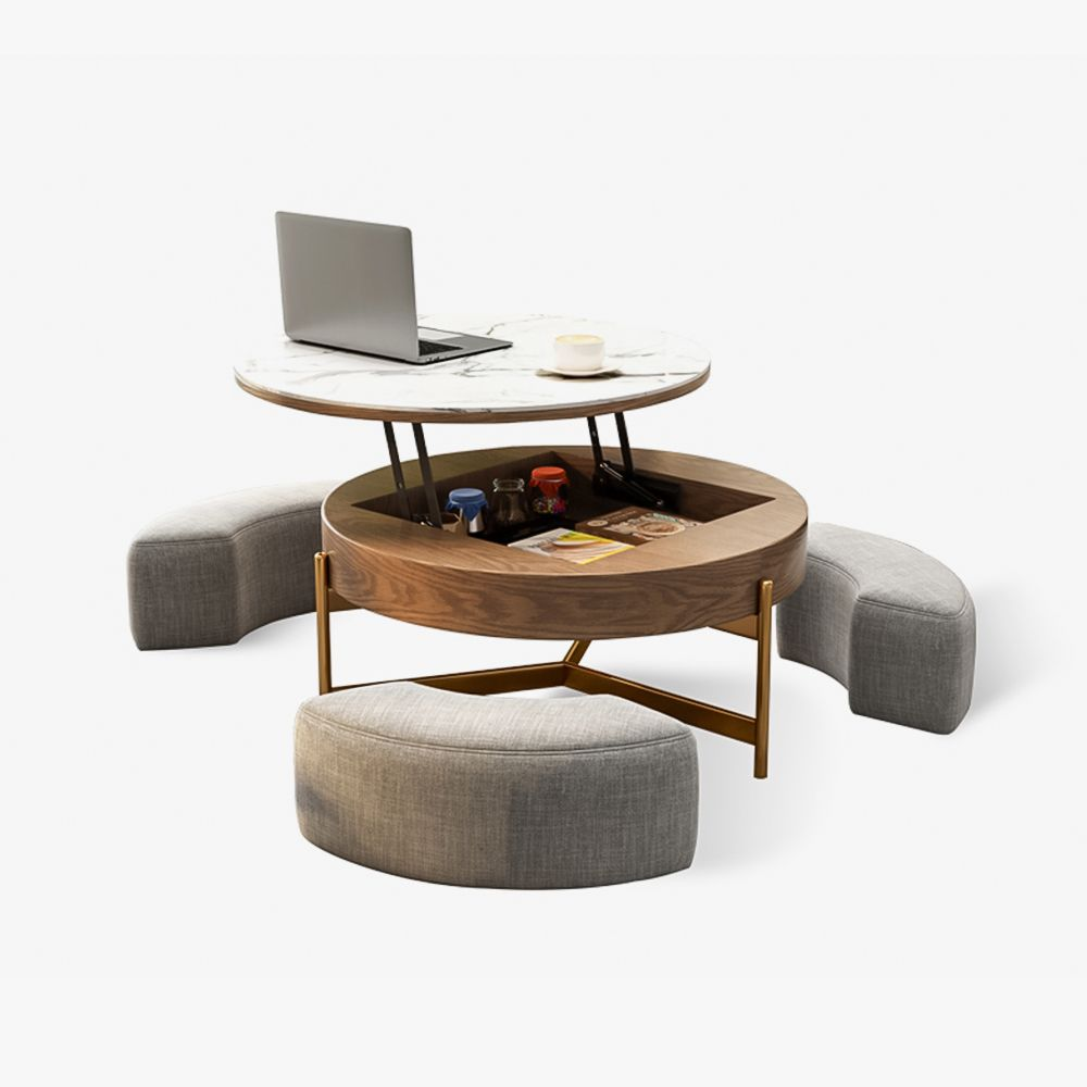 Aiona Lifting-top Round Storage Table - Brown