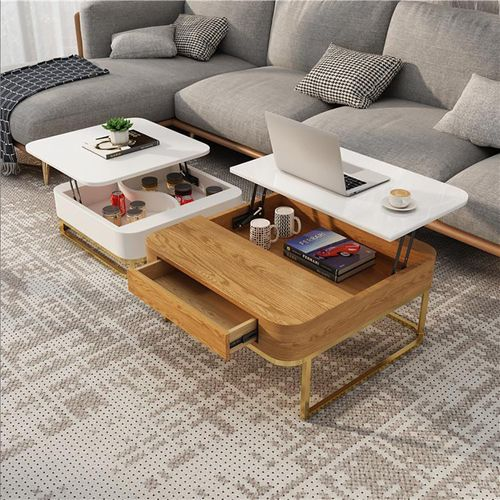 Nello Modern Lift-top Coffee Table Set of 2, Hidden Storage and Drawer, Carbon Steel Frame, Wooden